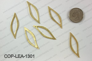 Gold plated leaf pendant, 13x41mm COP-LEA-1301