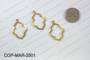 Gold plated marquis pendant, 25x35mm COP-MAR-2501