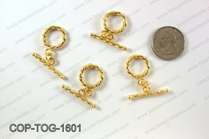 Gold plated toggle clasp, 16x29mm COP-TOG-1601