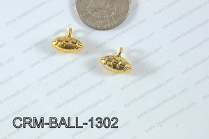 Pewter Charm Football 12x13mm Gold CRM-BALL-1302