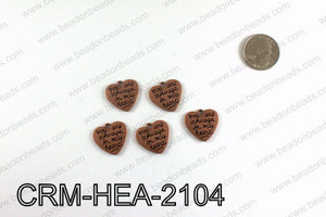 Heart charm 21x22mm, Copper CRM-HEA-2104