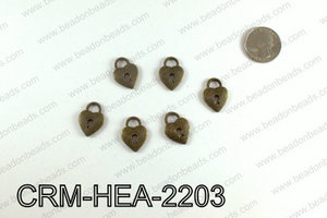 Heart lock charm 22x16mm, Bronze CRM-HEA-2203