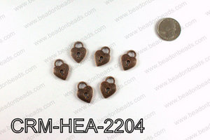Heart lock charm 22x16mm, Copper CRM-HEA-2204
