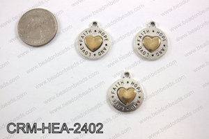 Pewter heart charm 20mm,CRM-HEA-2402