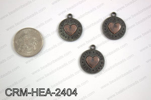 Pewter heart charm 20mm CRM-HEA-2404