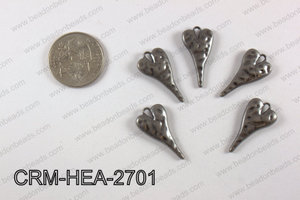 Pewter heart charm 13X27 mm, gun metal CRM-HEA-2701