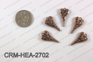 Pewter heart charm 13x27mm, copperCRM-HEA-2702