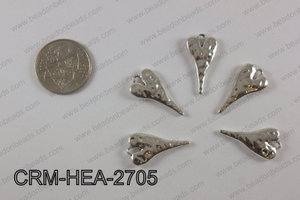 Pewter heart charm 13x27mm, silver CRM-HEA-2705
