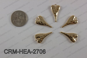 Pewter heart charm 13x27mm, light gold CRM-HEA-2706