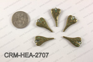 Pewter heart charm 13x27mm, patina finish CRM-HEA-2707
