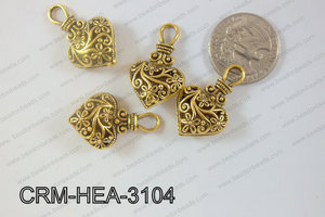 Charm Heart Gold 31x19mm CRM-HEA-3104