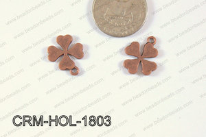 Pewter Charm Clover 15x18mm Copper CRM-HOL-1803