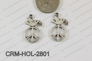 Pewter Charm Dove with peace 16x28mm Silver CRM-HOL-2801
