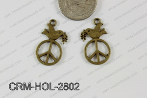 Pewter Charm Dove with peace 16x28mm bronxe CRM-HOL-2802