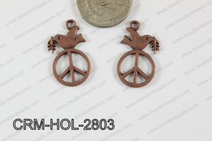 Pewter Charm Dove with peace 16x28mm Copper CRM-HOL-2803