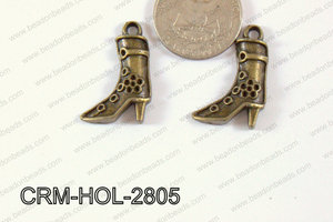 Pewter Charm Texas Boots 19x28mm BronzeCRM-HOL-2805