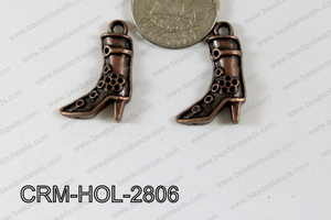 Pewter Charm Texas Boots 19x28mm Copper CRM-HOL-2806
