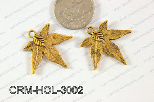 Pewter Charm Leaf 30mm Gold CRM-HOL-3002