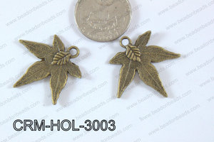 Pewter Charm Leaf 30mm Bronze CRM-HOL-3003
