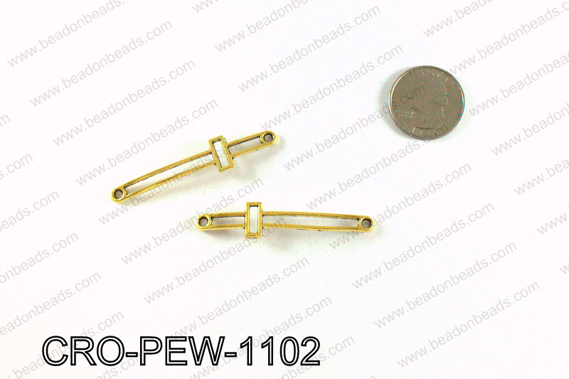 Pewter cross connector 11x55mm, Gold CRO-PEW-1102