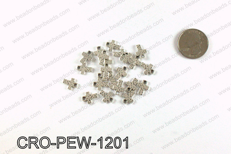 Cross charm 12x9mm, Silver CRO-PEW-1201