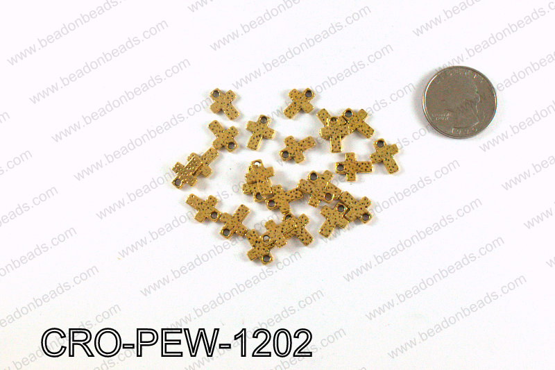 Cross charm 12x9mm, Gold CRO-PEW-1202