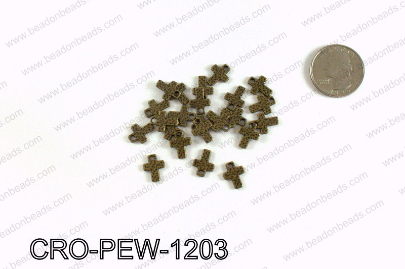 Cross charm 12x9mm, Bronze CRO-PEW-1203