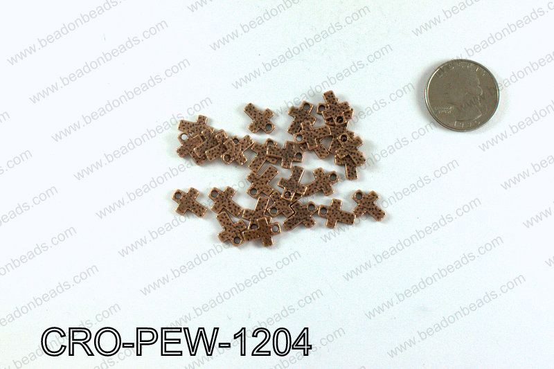 Cross charm 12x9mm, Copper CRO-PEW-1204