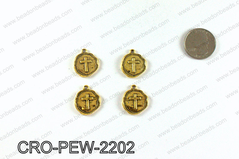 Coin cross charm 22x19mm, Gold CRO-PEW-2202