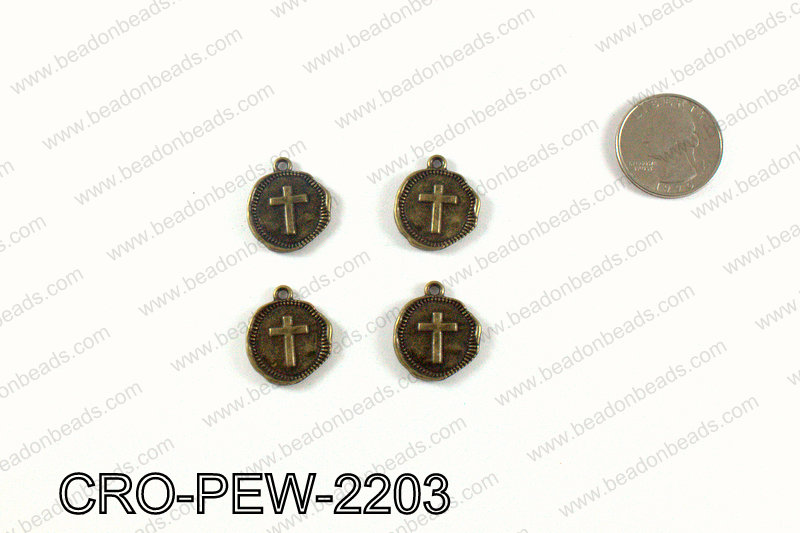 Coin cross charm 22x19mm, Bronze CRO-PEW-2203