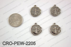 Coin cross charm 22x19mm, gun metal CRO-PEW-2205