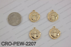 Coin cross charm 22x19mm, light gold CRO-PEW-2207