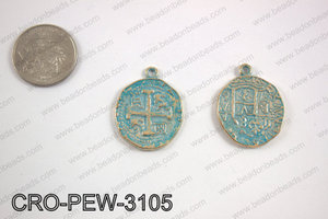 Coin cross pendant 31x25mm, turquoise patina CRO-PEW-3105