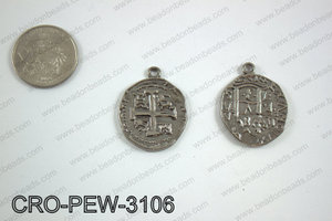 Coin cross pendant 31x25mm, gun metal CRO-PEW-3106