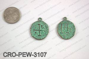 Coin cross pendant 31x25mm, turquoise patina CRO-PEW-3107