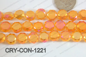 Angelic crystal coin faceted frosted finsh 12mm orange CRY-CON-1