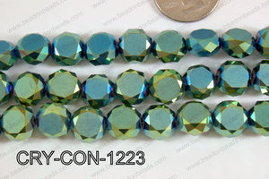 Angelic crystal coin faceted frosted finsh 12mm green CRY-CON-12