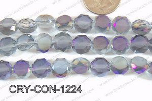 Angelic crystal coin faceted frosted finsh 12mm purple CRY-CON-1
