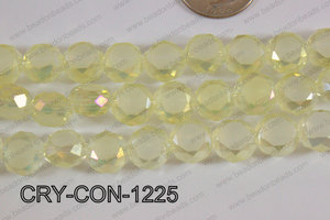 Angelic crystal coin faceted frosted finsh 12mm yellow CRY-CON-1