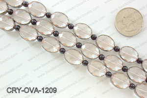 Oval clear crystal with Gunmetal bezel 12x16mmCRY-OVA-1209