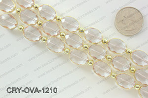 Oval champagne crystal with Gold bezel 12x16mmCRY-OVA-1210
