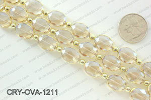 Oval clear crystal with Gold bezel 12x16mmCRY-OVA-1211