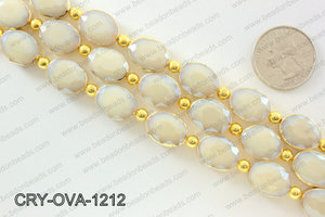 Oval cream crystal with Gold bezel 12x16mmCRY-OVA-1212