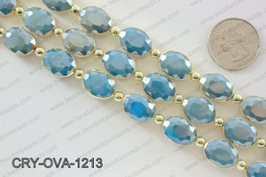 Oval blue crystal with Gold bezel 12x16mmCRY-OVA-1213