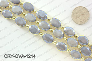 Oval grey crystal with Gold bezel 12x16mmCRY-OVA-1214