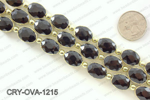 Oval black crystal with Gold bezel 12x16mmCRY-OVA-1215
