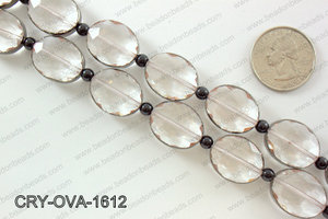 Oval clear crystal with Gunmetal bezel 16x20mmCRY-OVA-1612