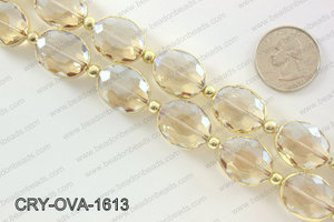 Oval champagne crystal with Gold bezel 16x20mmCRY-OVA-1613