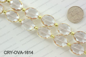 Oval clear crystal with Gold bezel 16x20mmCRY-OVA-1614