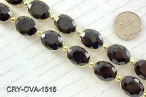 Oval black crystal with Gold bezel 16x20mmCRY-OVA-1615